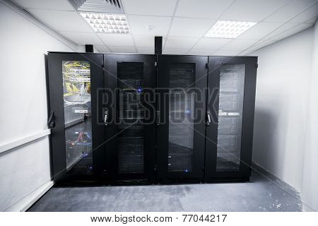 Server Room With Black Metal Computer Cabinets