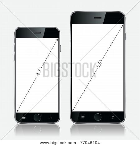 Realistic White Mobile Phone. Vector Illustration Eps10