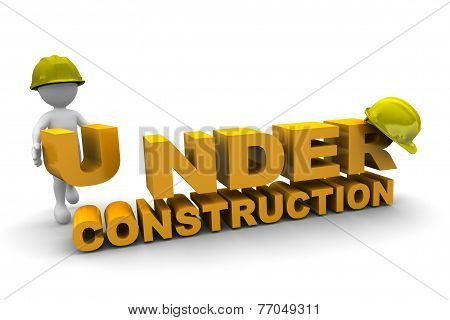 Worker And Under Construction With Helmet