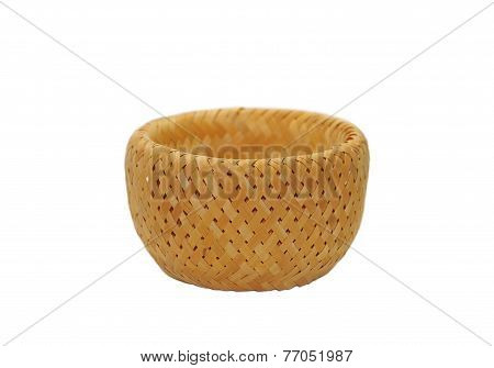 Rush And Rattan Straw Basket Isolated On White