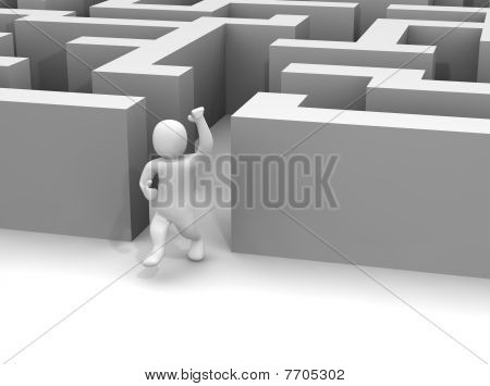 Man escaping labyrinth