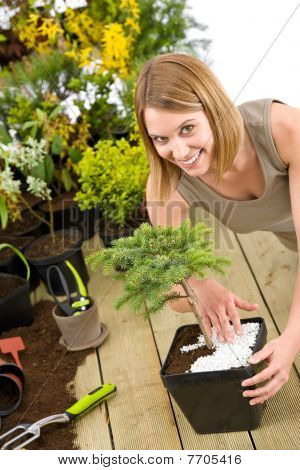 Gardening - Woman With Bonsai Tree And Plants