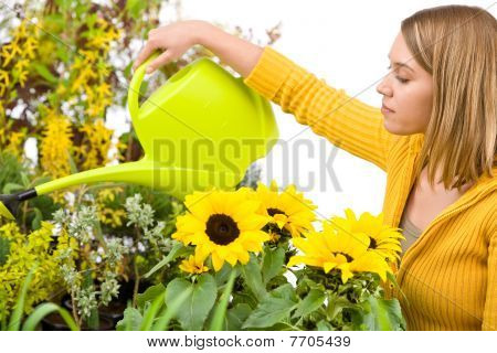 Gardening - Woman Pouring Water To Flowers