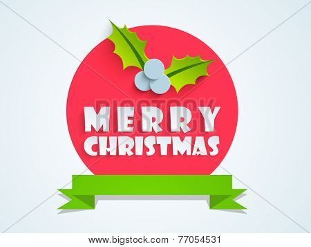 Merry Christmas sticker, tag or label with mistletoe and blank green ribbon on blue background.