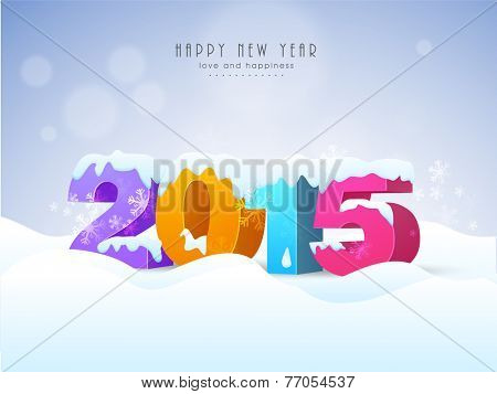 Colorful stylish text 2015 covered with snow on snowflakes decorated winter background  for Happy New Year celebrations.