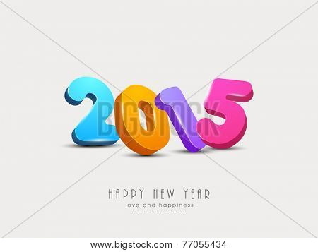 Colorful 3d text 2015 for Happy New Year celebration on beige background.