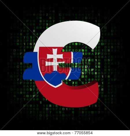 Euro symbol with Slovakian flag on hex code illustration