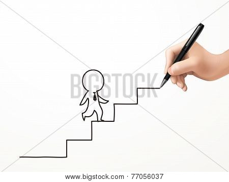 Businessman Walking Up Stairs Drawn By Human Hand