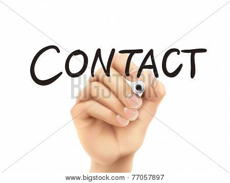 Contact Word Written By Hand