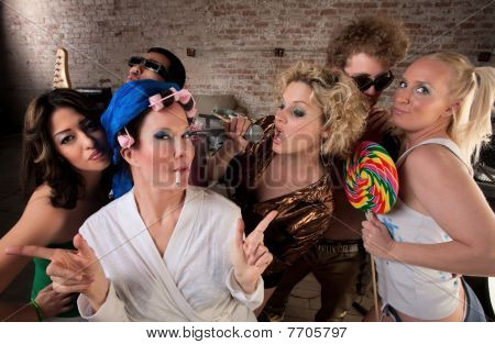 Funky Housewife With Rowdy Group