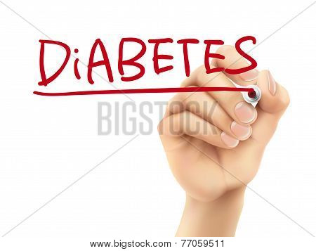 Diabetes Word Written By Hand