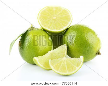 Fresh juicy limes isolated on white