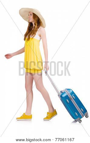 Walking young girl with travel case isolated on white
