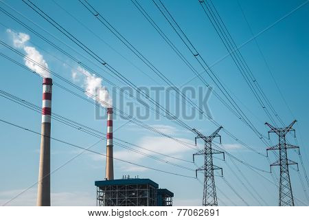 Thermal Power Plant Against A Blue Sky