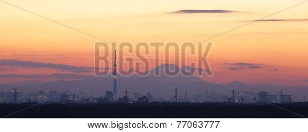 Tokyo city view and tokyo skytree with Mt Fuji