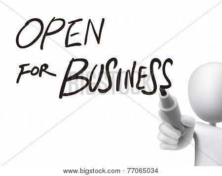 Open For Business Written By 3D Man