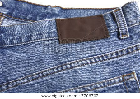 Denim blue jeans rear with label