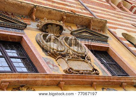 Bas-relief On The Wall In Piazza Della Signoria In Verona, Italy