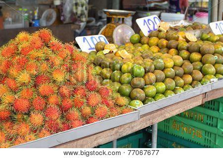Rambutan, Lat. Nephelium Lappaceum At Street Market, Thailand, Krabi