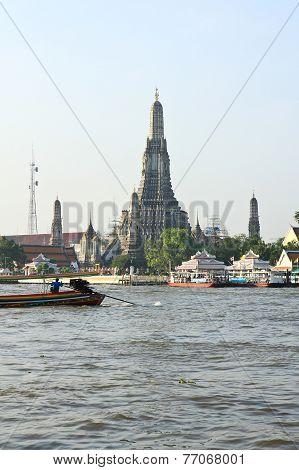 The Temple Of Dawn, Wat Arun, On The Chao Phraya River In Bangkok, Thailand.