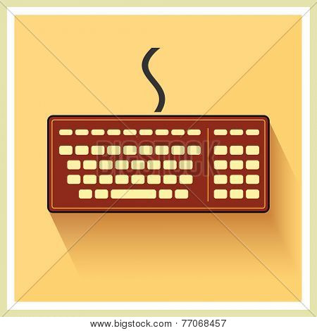 Classic Computer Keyboard on Retro Background Vector