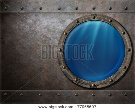 submarine or battleship porthole steam punk metal background