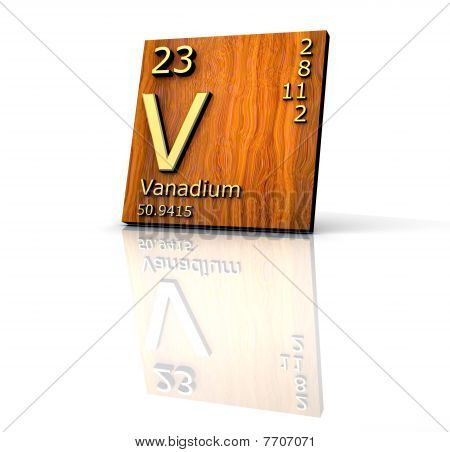 Vanadium Form Periodic Table Of Elements - Wood Board
