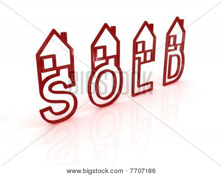 Sold Houses On White Background