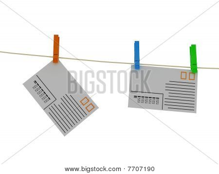 Envelope With Pins On White Background