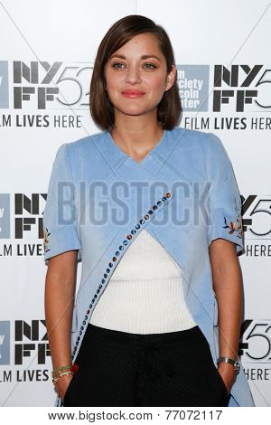 NEW YORK-OCT 5: Actress Marion Cotillard attends the 'Two Days, One Night' premiere during the 52nd New York Film Festival at Alice Tully Hall on October 5, 2014 in New York City.