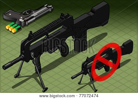 Isometric Submachine And Pistol In Front View