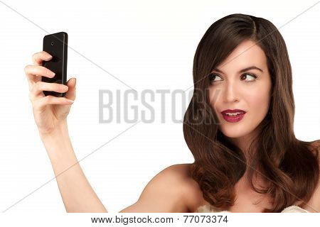 Beautiful Woman Taking A Selfie With  Smartphone