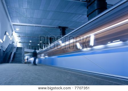 Train On Underground Platform