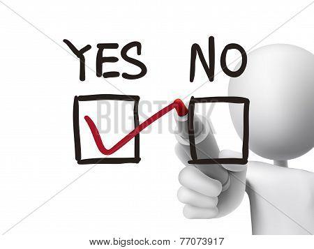 Choosing Yes On Survey By 3D Man