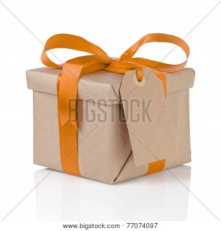 One Gift Christmas Box Wrapped With Paper And Orange Bow