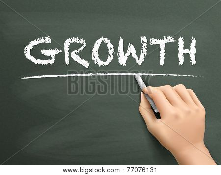 Growth Word Written By Hand
