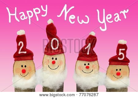 Happy New Year 2015 - Four Gnomes With Smiling Face