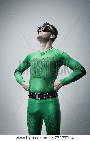 Funny Lazy Superhero Looking Up