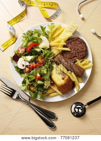 Unhealthy and Healthy Food on a Plate