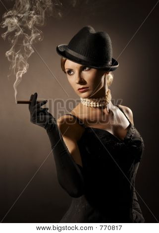 lady and cigar
