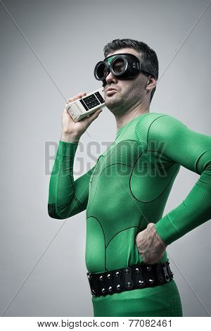 Superhero On The Phone