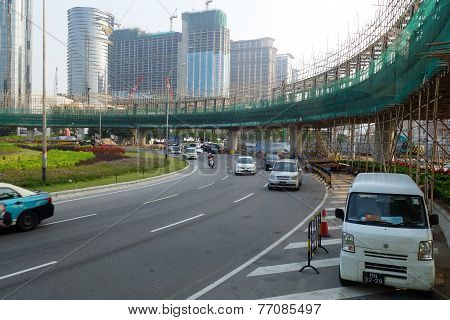 Overhead Bridge Is Built To Ease The Traffic In Macau