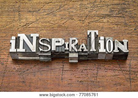inspiration word  in vintage metal type printing blocks over grunge wood