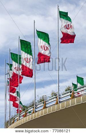Rows Of Iran Flags On A Street Bridge In Tehran