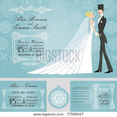 Winter wedding invitation set.Rero bride,groom,snowflake