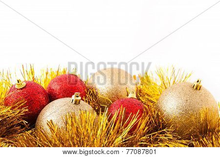Red and golden Xmas decoration, isolated over white.