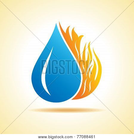 illustration of Fire and water concept stock vector