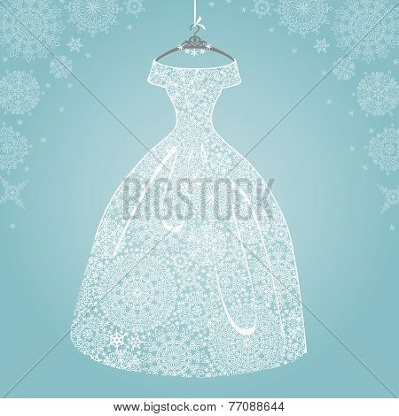 Bridal dress.Wedding snowflake lace