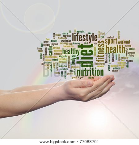 Concept or conceptual abstract health word cloud man hand, rainbow sky background