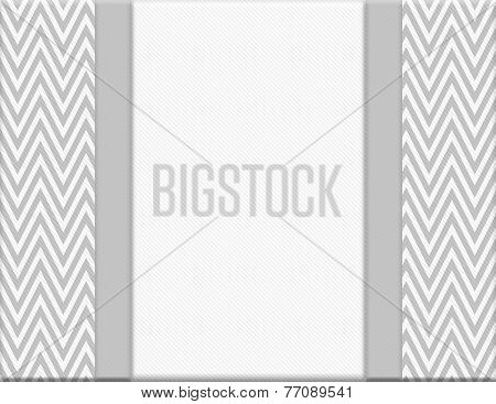 Gray And White Chevron Zigzag Frame With Ribbon Background